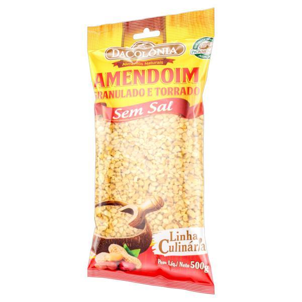 Amendoim Granulado e Torrado sem Sal DaColônia Linha Culinária Pacote 500g