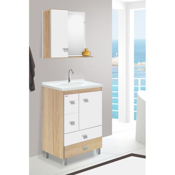 FABRIBAM Conjunto Banheiro Malbec Marfim 60cm Amêndoa / Branco