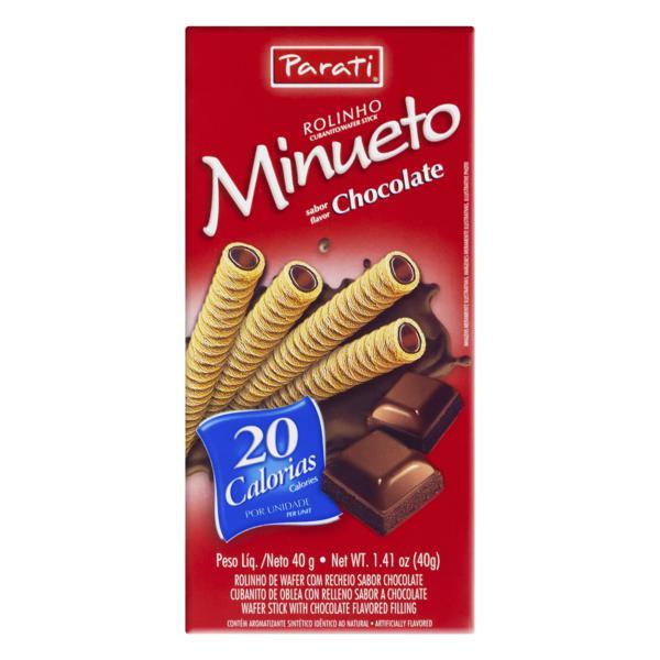 Rolinhos de Wafer Recheio Chocolate Minueto Caixa 40g