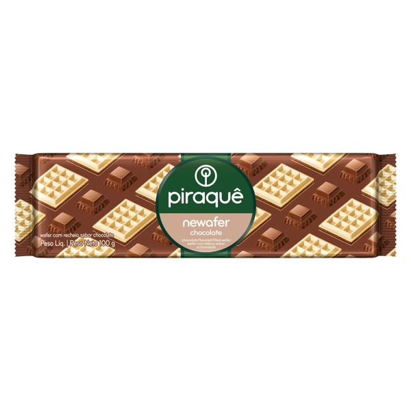 Biscoito Wafer Recheio Chocolate Piraquê Newafer Pacote 100g