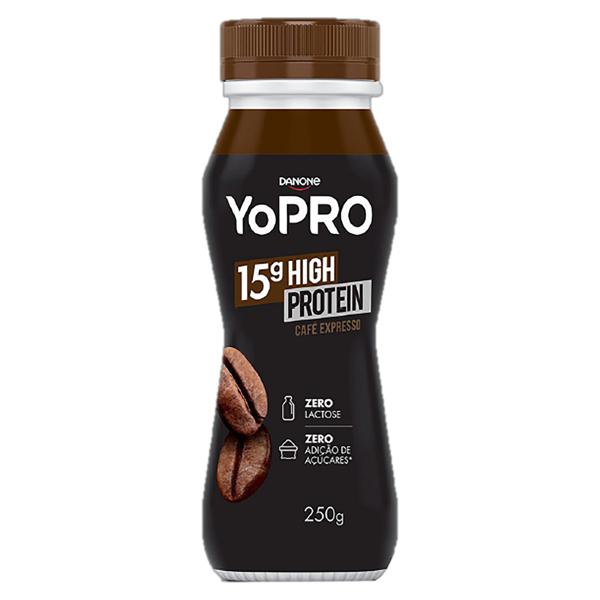Iogurte Desnatado Café Expresso Zero Lactose YoPRO 15g High Protein Frasco 250g
