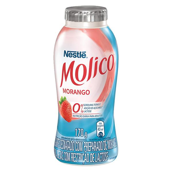 Iogurte Desnatado Morango Zero Lactose Nestlé Molico Frasco 170g