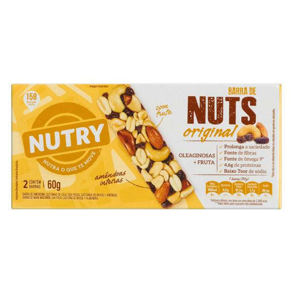 Pack Barra de Nuts Original Nutry Caixa 60g 2 Unidades