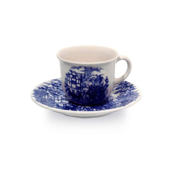 Xícara de Chá de 200 Ml com Pires OXFORD Biona Cena Inglesa 16,5cm