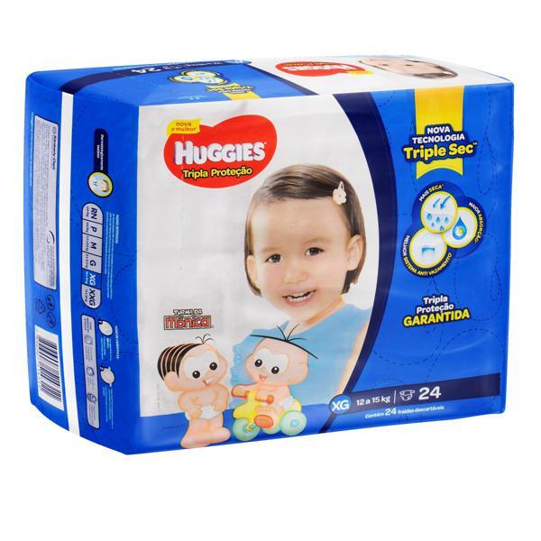 Fralda Descartável Infantil Huggies Tripla Proteção XG Pacote 24 Unidades
