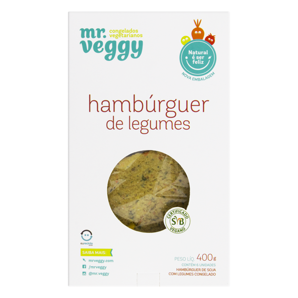 Hambúrguer Vegetal Vegetariano MR VEGGY Caixa 400g