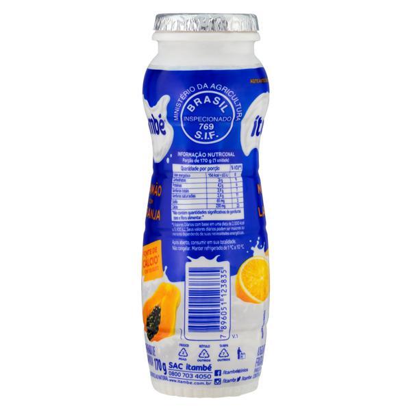 Iogurte Parcialmente Desnatado Mamão com Laranja Itambé Frasco 170g