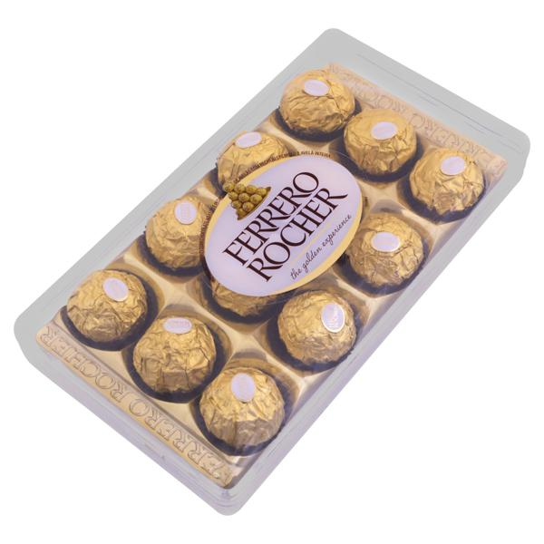 Bombom Ferrero Rocher Bandeja 150g 12 Unidades