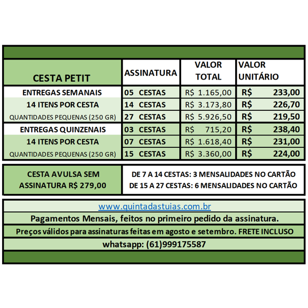PETIT - 15 ou 27 Cestas