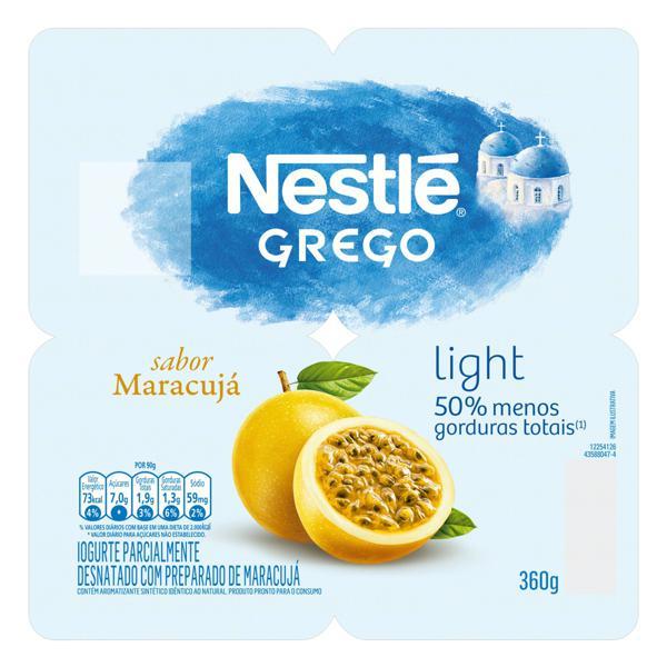 Iogurte Parcialmente Desnatado Grego Maracujá Light Nestlé Bandeja 360g 4 Unidades