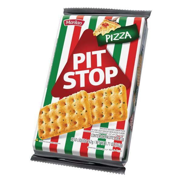 Pack Biscoito Pizza Marilan Pit Stop Pacote 162g 6 Unidades