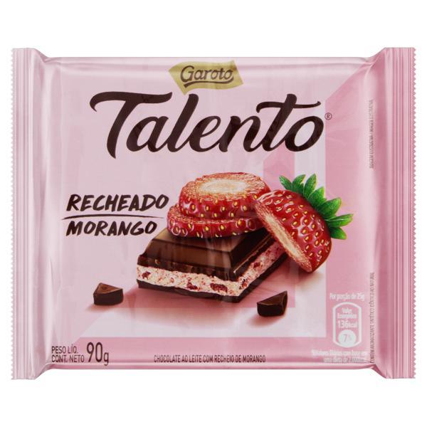 Chocolate ao Leite com Recheio de Morango Garoto Talento Pacote 90g