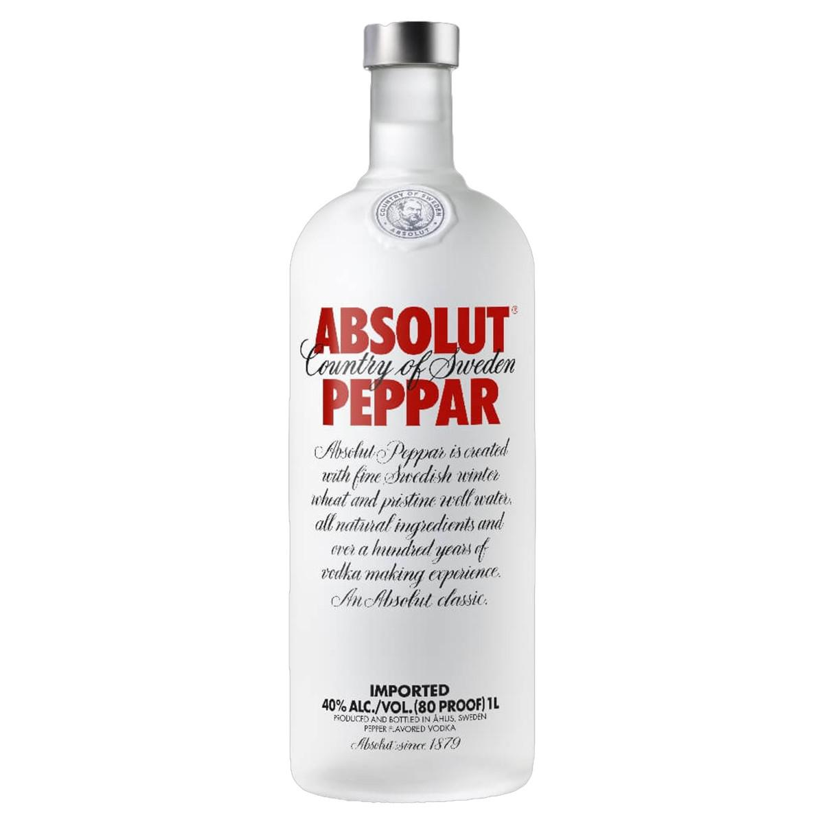 Vodka Destilada Saborizada Absolut Peppar Garrafa 1l