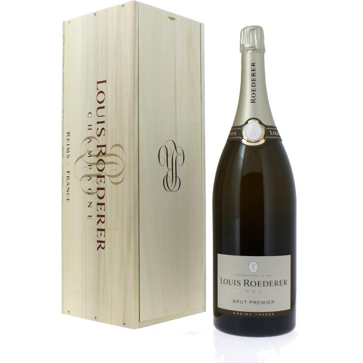 Champagne Louis Roederer Premier Brut Wooden Box com estojo de madeira 3 litros