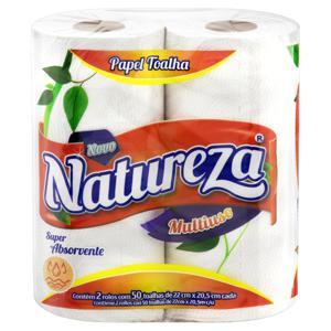 Toalha de Papel Folha Dupla Multiuso Natureza 22cm x 20,5cm Pacote 2 Unidades