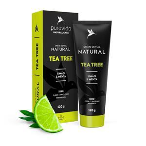 Creme Dental Natural Tea Tree Limão e Menta 120g - Puravida