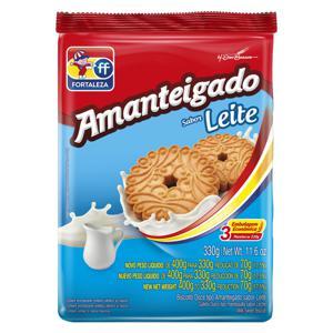Biscoito Amanteigado Leite Fortaleza Pacote 330g Embalagem Econômica