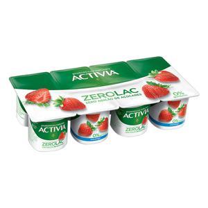 Iogurte Morango Zero Lactose Activia ZeroLac Bandeja 800g 8 Unidades
