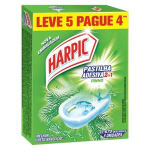 Detergente Sanitário Pastilha Adesiva Pinho Harpic Leve 5 Pague 4 Unidades