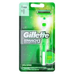 Aparelho Recarregável e Carga para Barbear Gillette Mach3 Sensitive