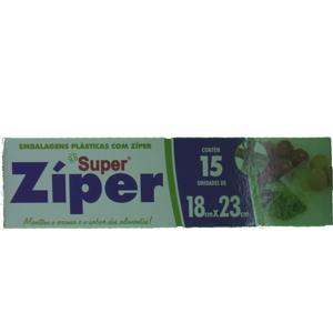 Super Zipper BIO PLASTIC 18x23 com 15 Unidades