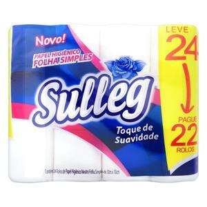 Papel Higiênico Folha Simples Neutro Sulleg 30m Pacote Leve 24 Pague 22 Unidades