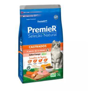 Racao Premier Selecao Natural Gatos Castrados 1,5Kg