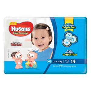 Fralda Descartável Infantil Huggies Tripla Proteção XG Pacote 14 Unidades