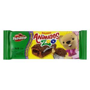 Bolinho Brigadeiro Recheio Chocolate Richester Animados Zoo Pacote 40g