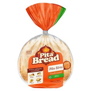 Pão Sírio Mini Tradicional Pita Bread Pacote 300g
