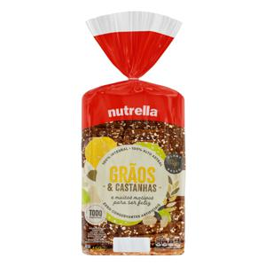 Pão Integral Grãos & Castanhas Nutrella Pacote 450g