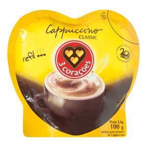 Cappuccino Solúvel Tradicional 3 Corações Sachê 100g Refil Econômico