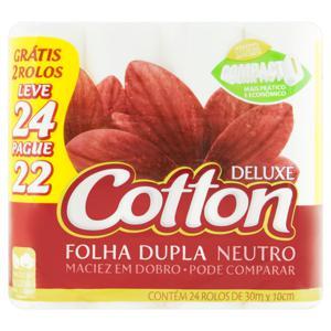 Papel Higiênico Folha Dupla Neutro Cotton Deluxe 30m Pacote Leve 24 Pague 22