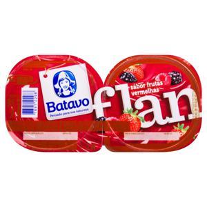 Sobremesa Láctea Flan Baunilha com Calda de Frutas Vermelhas Batavo Bandeja 200g 2 Unidades