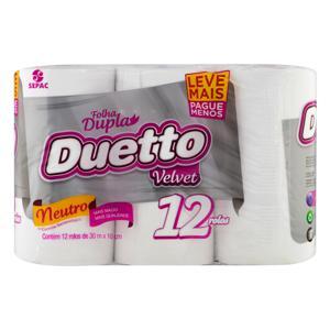 Papel Higiênico Folha Dupla Neutro Duetto Velvet 30m Pacote 12 Unidades Leve Mais Pague Menos