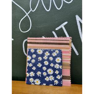 Tecido Sustentável Pano de Cera de Abelha Kit Com 2 Tamanhos Listras e Florzinhas (P e M) BIOPANOS