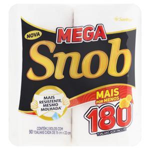 Toalha de Papel Folha Simples Multiuso Snob Mega 19cm x 22cm Pacote 2 Unidades
