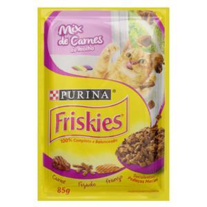 Alimento para Gatos Adultos Mix de Carnes ao Molho Purina Friskies Sachê 85g