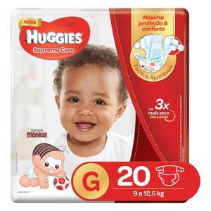 Fralda Descartável Infantil Huggies Supreme Care tam G Pacote c/20 Unidades