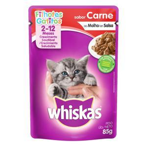 Alimento para Gatos Filhotes 2 a 12 Meses Carne ao Molho Whiskas Sachê 85g