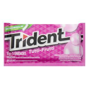 Goma de Mascar Tutti Frutti Zero Açúcar Trident Envelope 8g 5 Unidades