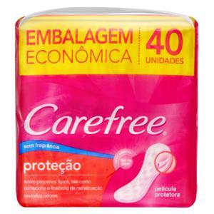 Protetor Diário sem Abas sem Fragrância Carefree Pacote 40 Unidades Embalagem Econômica