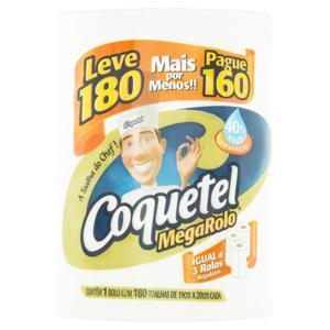 Toalha de Papel Folha Dupla Mega Rolo Coquetel 19cm x 20cm Pacote Leve 180 Unidades Pague 160 Unidades