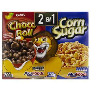 Kit Cereal Matinal Choco Boll 200g + Corn Sugar 300g Alca Foods Grátis 1 Tigela