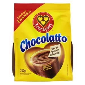 Achocolatado em Pó 3 Corações Chocolatto Pacote 700g Embalagem Econômica