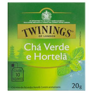 Chá Verde Hortelã Twinings Caixa 20g 10 Unidades