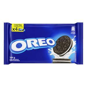 Pack Biscoito Chocolate Recheio Baunilha Oreo Pacote 144g 4 Unidades