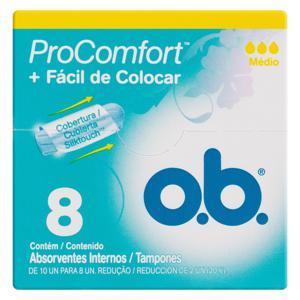 Absorvente Interno O.B. ProComfort Médio Caixa 8 Unidades