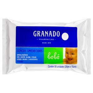 Lenço Umedecido Lavanda Granado Bebê 20cm x 15cm Pacote 50 Unidades