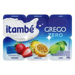 Iogurte Desnatado Grego Morango + Maracujá + Limão Itambé Zero Bandeja 540g 6 Unidades